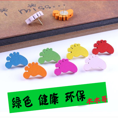 Apricot pair of little feet wood cartoon pushpin decorative word nails nail by nail cork cork wall pushpin pushpin creative