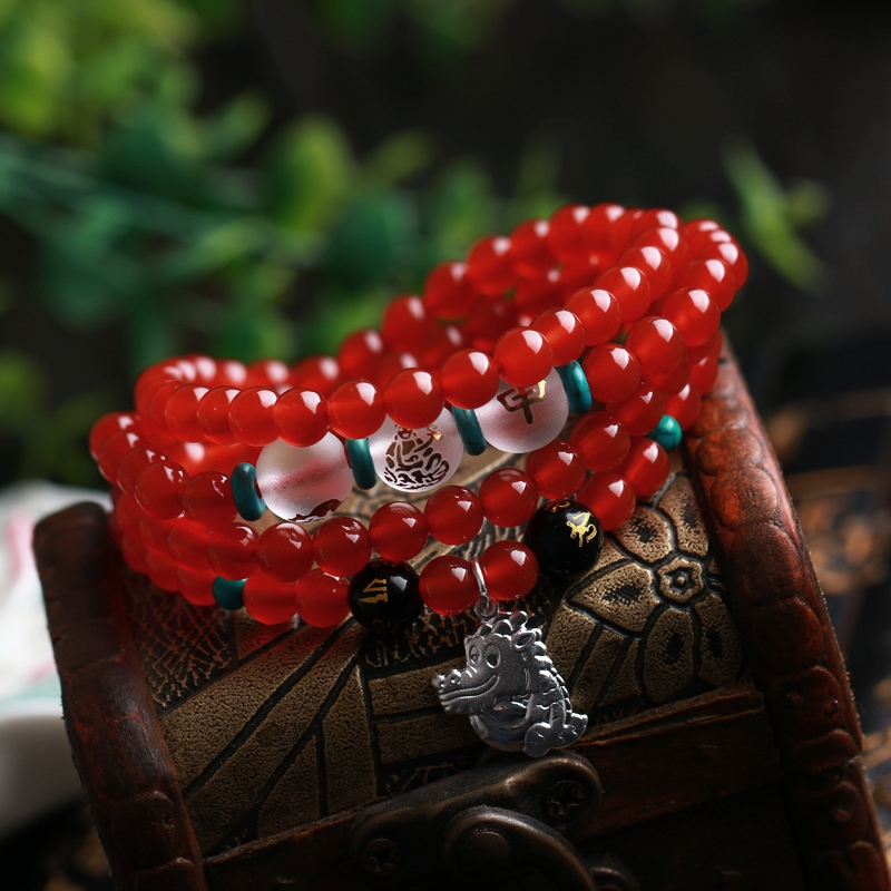 Argenta fuyuan opening of natural carnelian pendant zodiac monkey rat lung triple 108 prayer beads bracelet male and female models