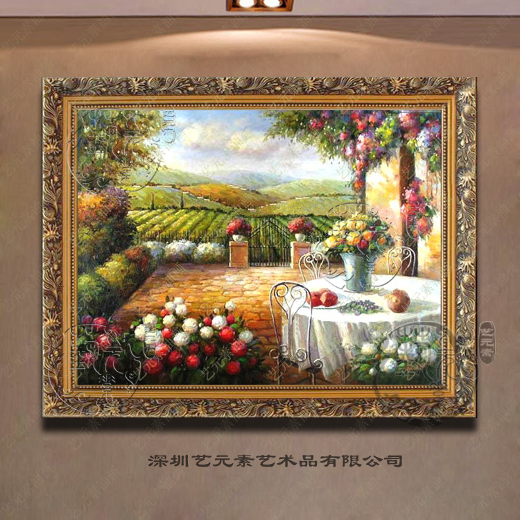 Art elements painted european landscape painting the living room restaurant decorative painting works painting with a thick garden YHY013