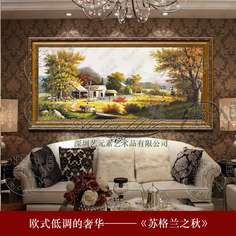 Art elements painted framed painting of european landscape painting the living room in the hotel lobby villa YGH004 scotland autumn
