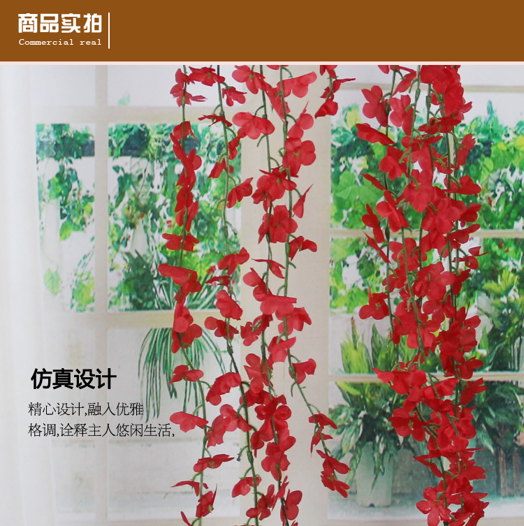 Article 5 10 head rose artificial flowers roses simulation rattan string hanging rattan cane artificial flowers green plant wall decoration rattan