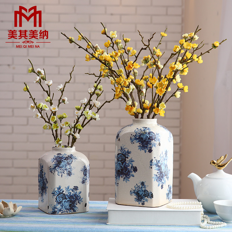 Artificial flowers artificial flowers decorate the living room dried flowers potted peach branch cherry plum branch decorative flower silk flower placed flowers at home