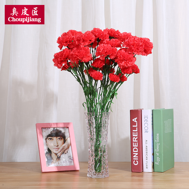 Artificial flowers carnation flower artificial flowers artificial flowers plastic flowers living room decorative flower silk flower decoration flower mother's day gift