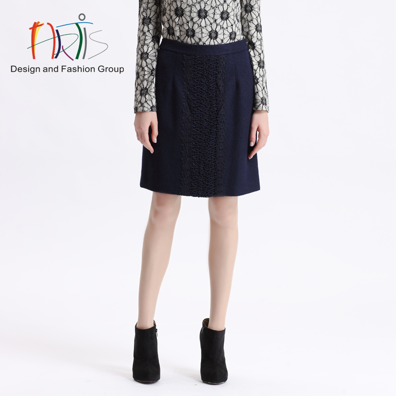 Artis artis ladieswear ladieswear malls the same paragraph fall and winter clothes dark blue skirt 371509-37074