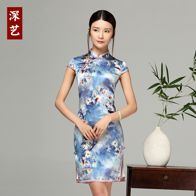 Arts 2016 new improved cheongsam fashion cheongsam dress short paragraph short sleeve flag silk mulberry silk dress retro dress
