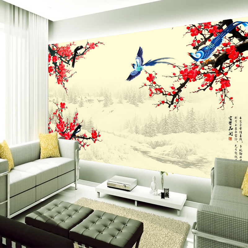 Arts and homes seamless' very happy plum flowers and decorative wallpaper mural of modern chinese tv background wallpaper