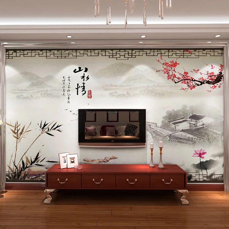 Arts and homes seamless wallpaper mural of modern chinese ink landscape situation scenery wallpaper background wallpaper the living room sofa/custom