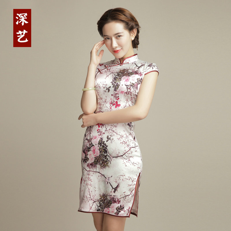 Arts deep mulberry silk cheongsam dress spring slim was thin gown skirt fashion summer short paragraph improved daily flag