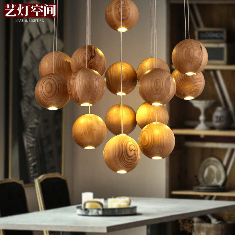 Arts lamp space art designer lamps creative personality nordic ikea living room minimalist restaurant wood chandelier art