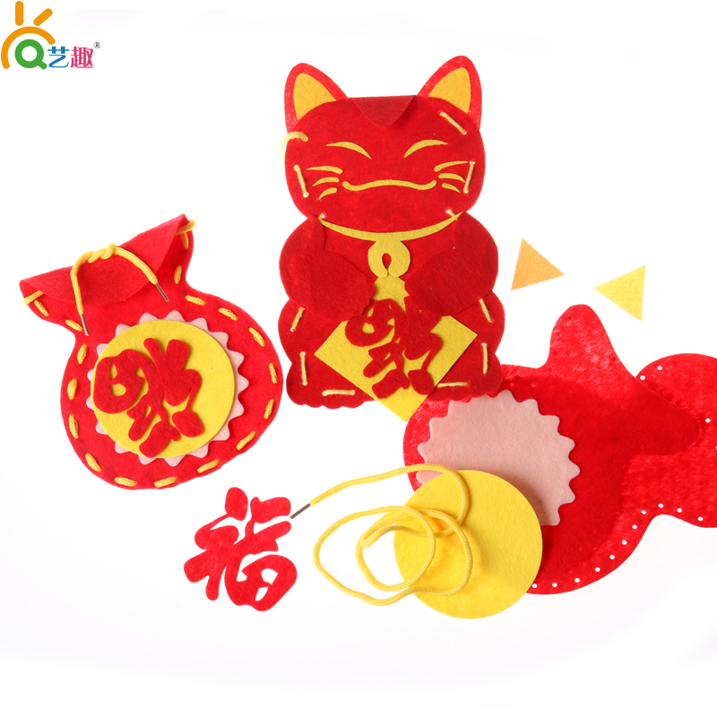 Arts preschool craft materials package new year spring festival handmade chinese new year red envelopes red envelopes made handmade children diy homemade
