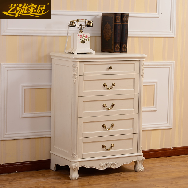Arts stream home european american style solid wood carved imported ash wood chest of drawers doo doo cabinet