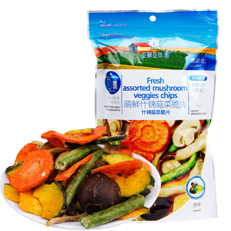 Assorted mushrooms sprouting fresh fruits and vegetables asia pastoral integrated dry fruits and vegetables chips 100g fresh fruits and dry