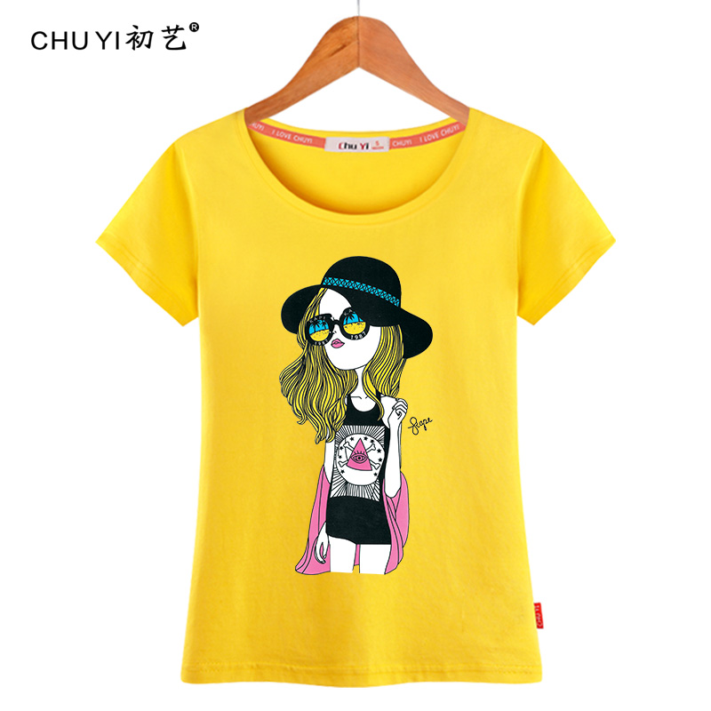At the beginning of arts and 2016 women's summer new european style loose on the streets wild personality printing short sleeve t-shirt shirt tide
