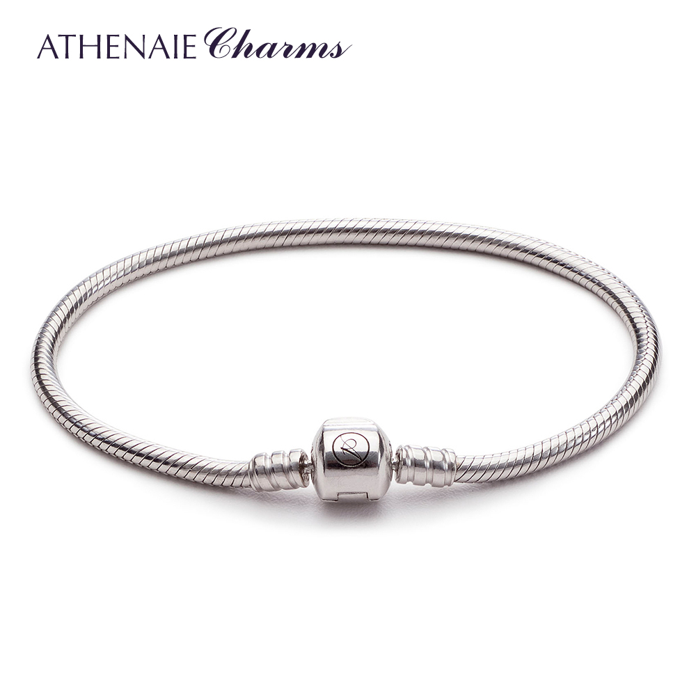 Athenaie 925 silver rhodium anti antioxidant shiny bracelet diy basis yi gu yuan to send a couple