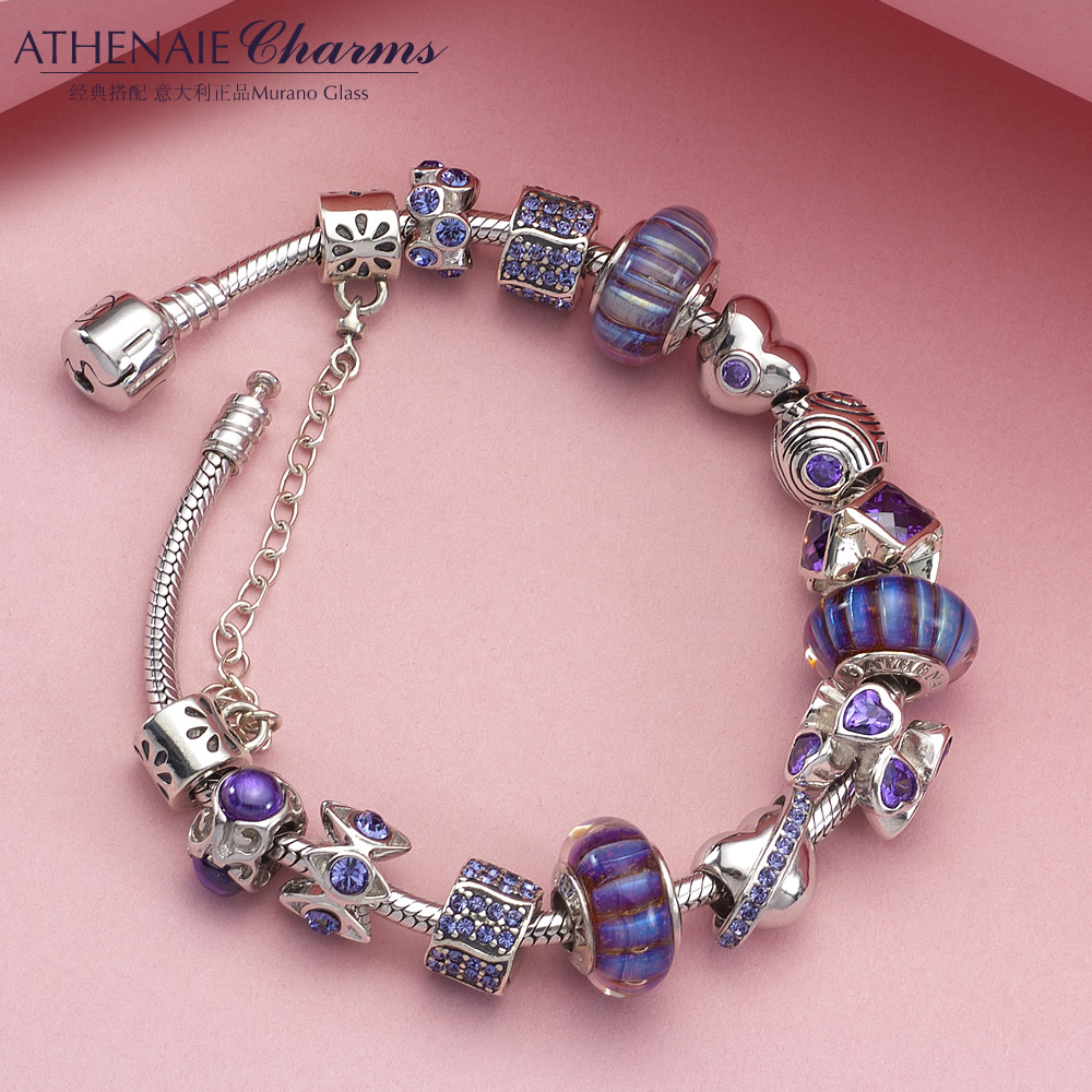Athenaie 925 tanzanite purple glass beads transit silver austrian crystal bracelet to send a couple of european and american style