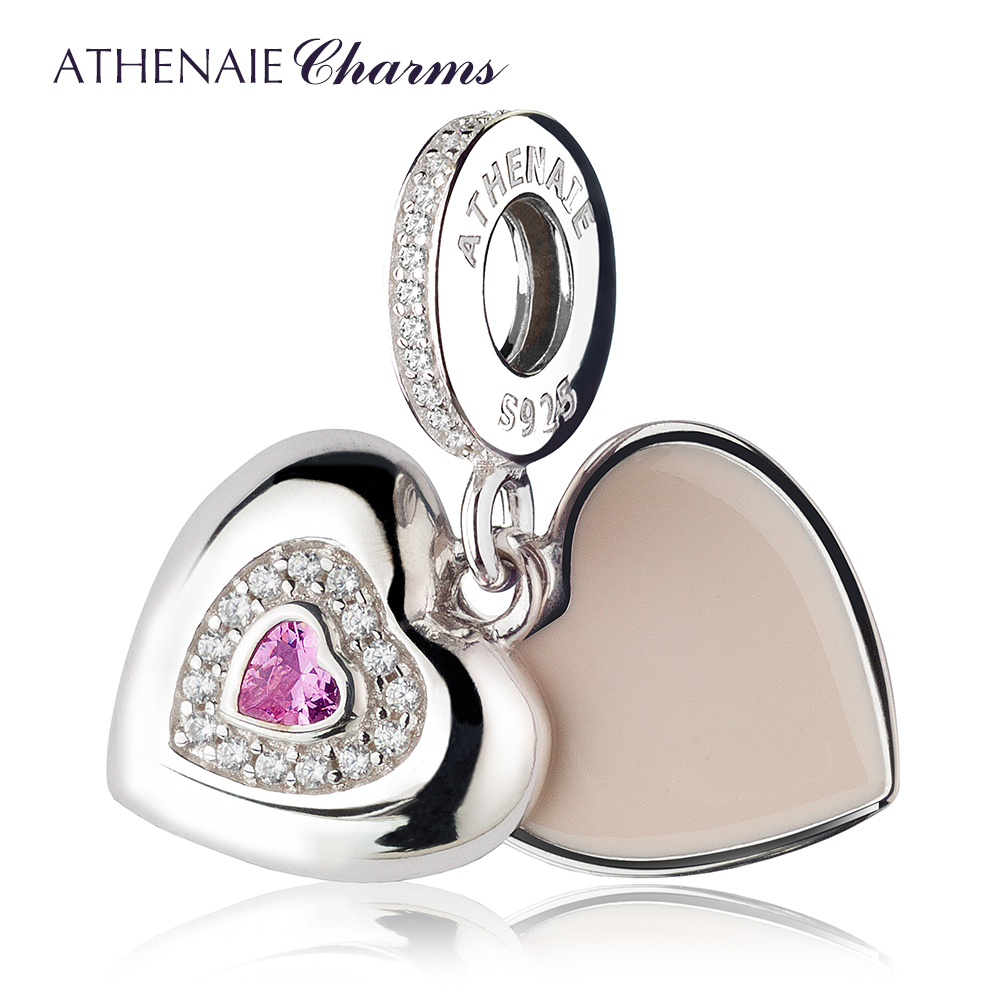Athenaie basis pink enamel diamond heart cz 925 silver beads bracelet bracelet female models mother paragraph