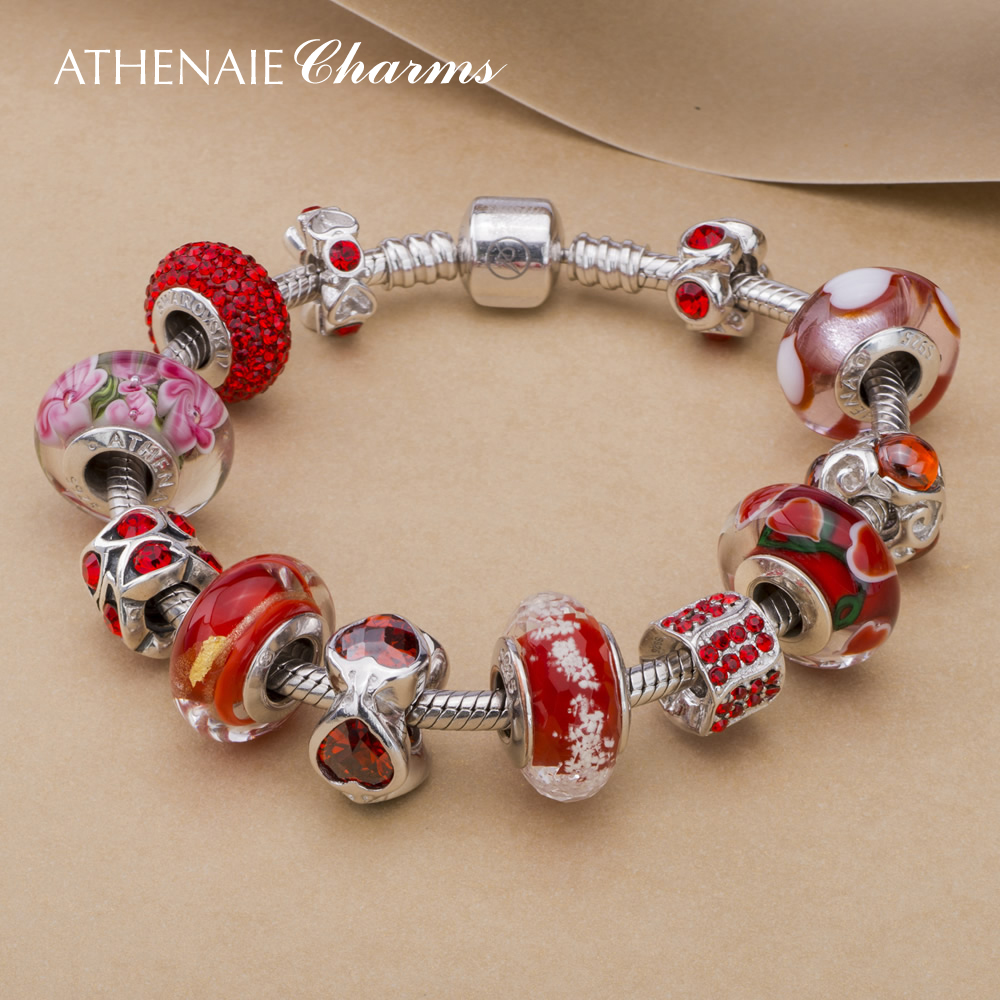 Athenaie chinese red glass beads 925 silver austrian crystal diy hand finished yi gu chain to send his girlfriend girlfriends
