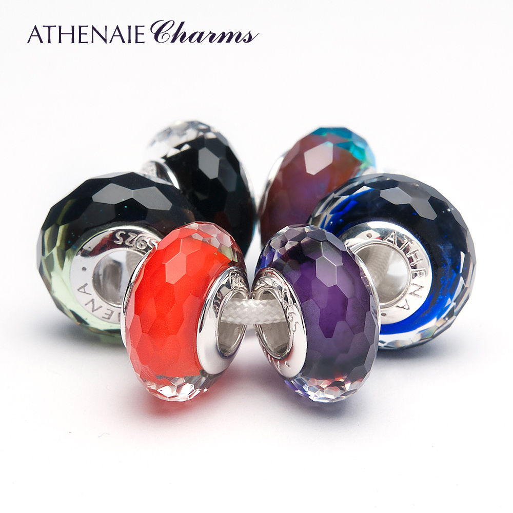 Athenaie designer models diy italian glass shining facets combination of glass beads loose beads color optional