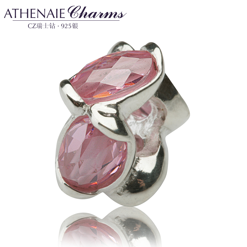 Athenaie seven color pigeon eggs 925 silver inlay zircon rhodium silver beads to send his girlfriend girlfriends