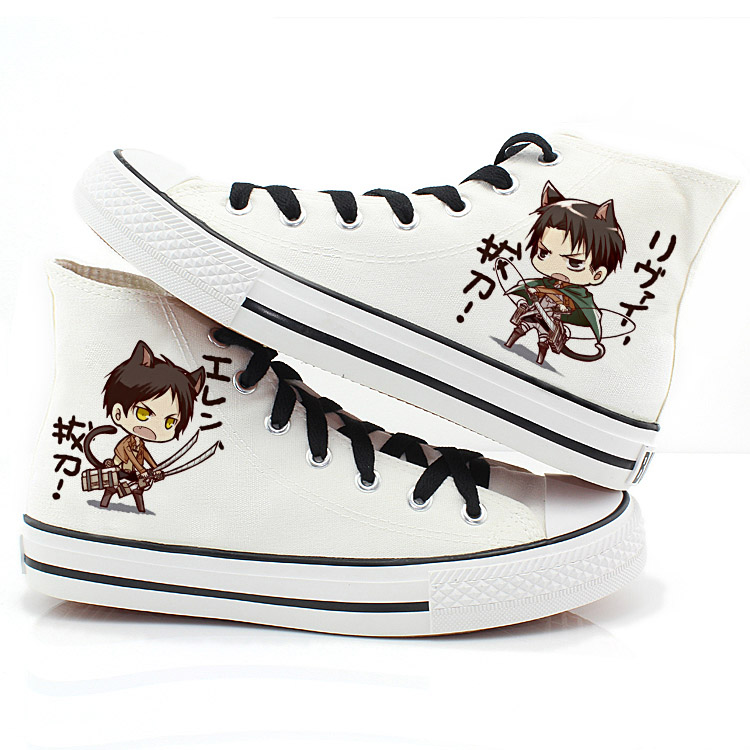 Attack on titan mikasa alan corps investigation surrounding the q version of the cartoon couple shoes high shoes canvas shoes tendon at the end