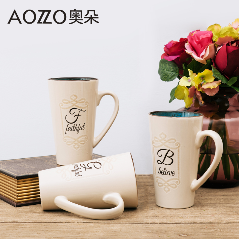Austrian duo simple cup of creative ceramic cups large capacity mug cup milk cup coffee cup advertising cup