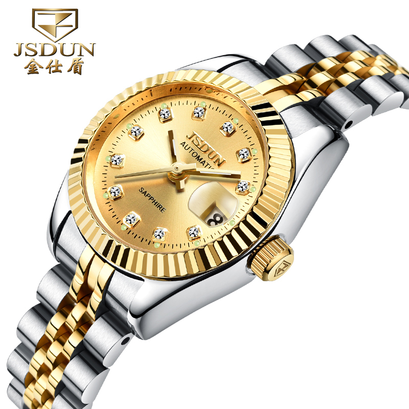 Authentic brand watches jinsdon female form gold back through automatic mechanical watch ms. surface luminous couple models