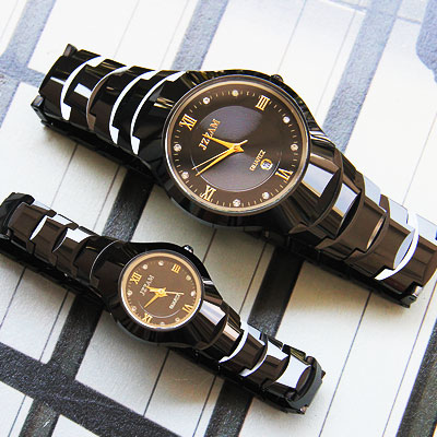 Authentic fashion classic black tungsten steel couple watch quartz watch korean couple watches couple watches free shipping