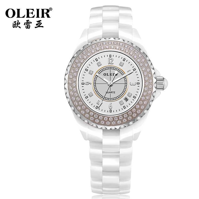 Authentic ladies watches ceramic table fashionable female diamond quartz watch sapphire crystal glass l8002