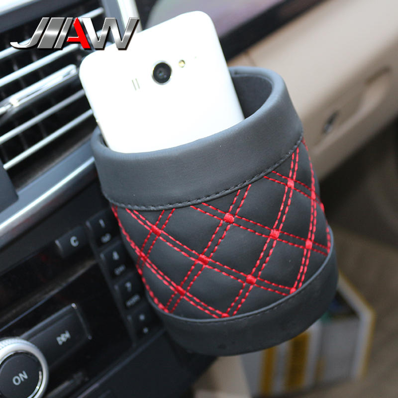 Automotive supplies automotive air conditioning outlet compartment bucket car phone barrel automotive interior leather lattice storage barrels