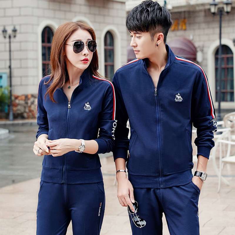 Autumn 2016 fashion slim sports suit male couple sportswear big yards female middle-aged autumn sweater piece