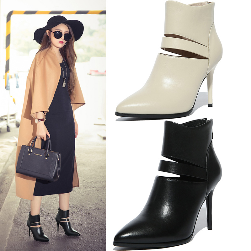 Autumn and winter 2016 new european and american women's shoes high heels female boots fine with martin boots women leather boots and bare boots women