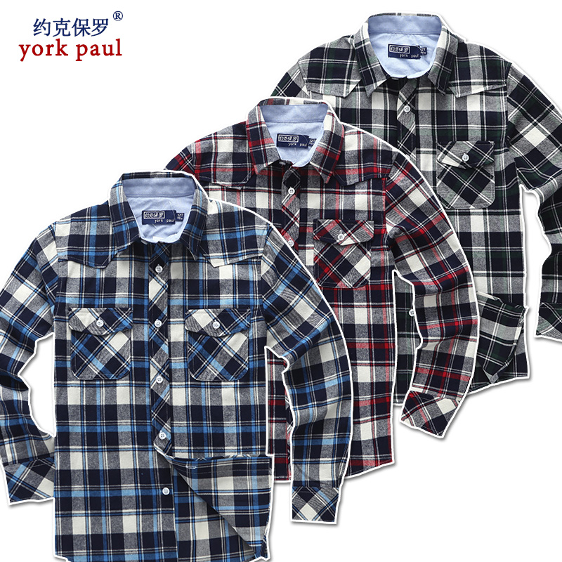 Autumn and winter children's clothing boys long sleeve cotton shirt children shirt boy big virgin sanding grid lapel child boy shirt