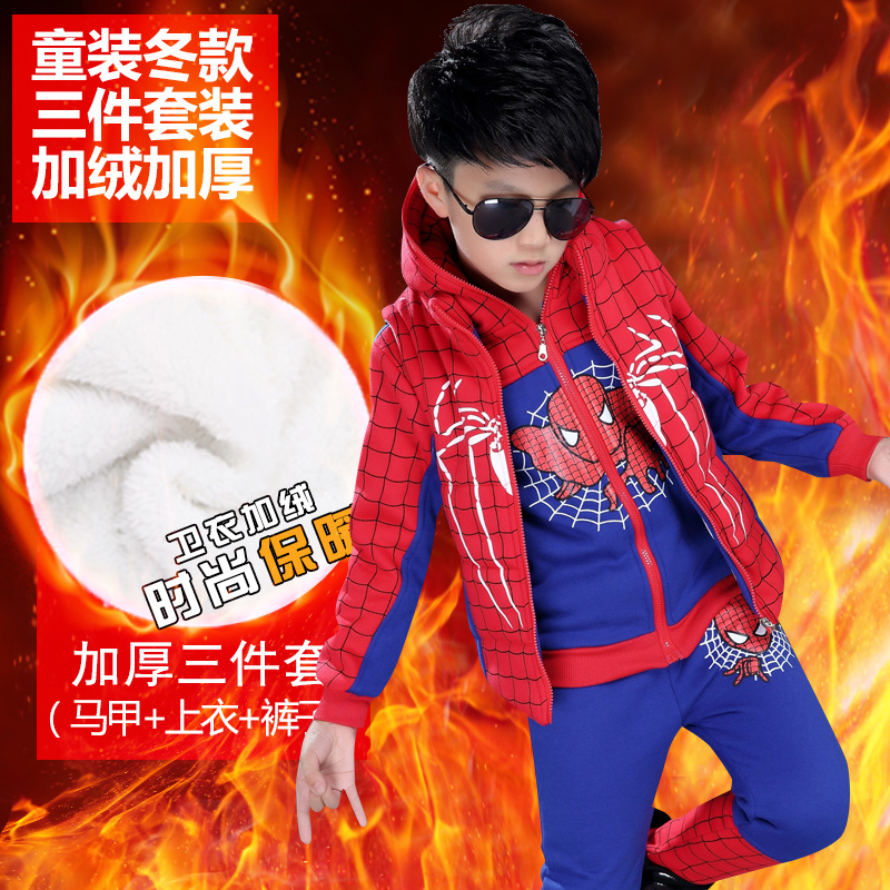 Autumn and winter children's clothing boys suit 2016 new children's sports three sets plus thick velvet boys spiderman suit