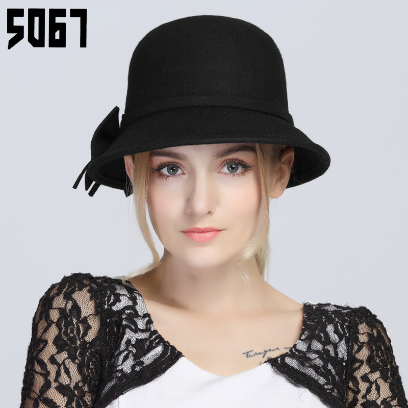 Autumn and winter hat wool hat female british retro elegant ladies temperament bow dome fisherman hat bucket hats