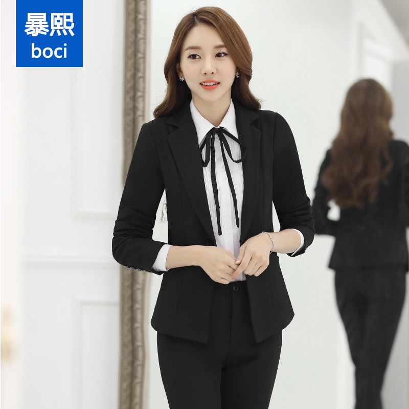 ae555ae3d2b6 Get Quotations · Autumn and winter long sleeve ladies wear suit pants ol  slim interview dress suit skirt overalls