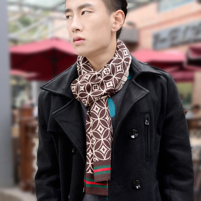 0eb407a618c Get Quotations · Autumn and winter new korean men s fashion tide male  models thick warm knit wool scarf scarf