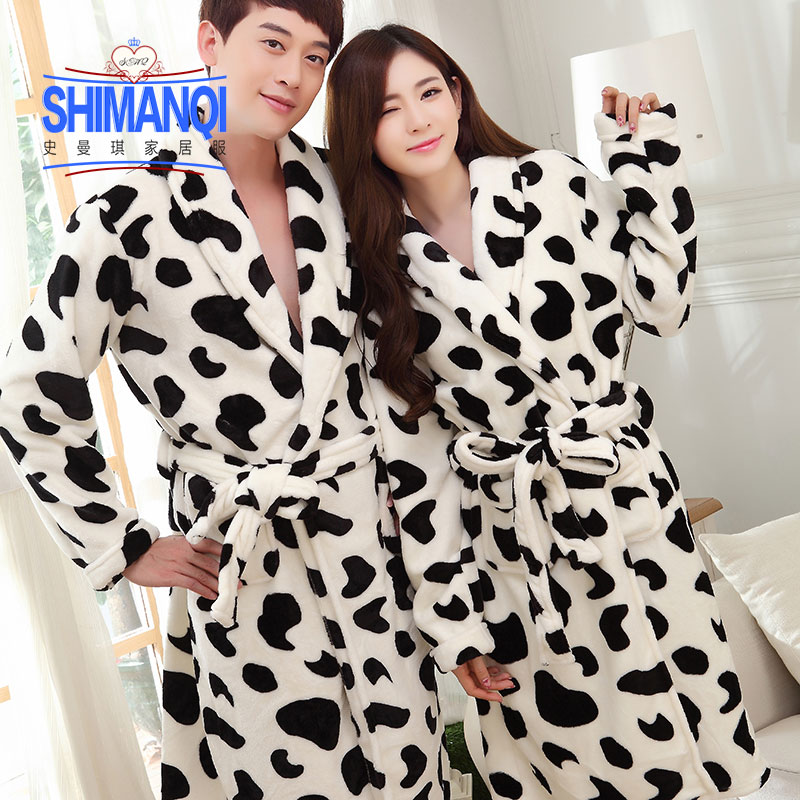 Get Quotations · Autumn and winter thick coral velvet pajamas couple cute  cartoon long sleeve flannel robe bathrobe home 5f65d1d67