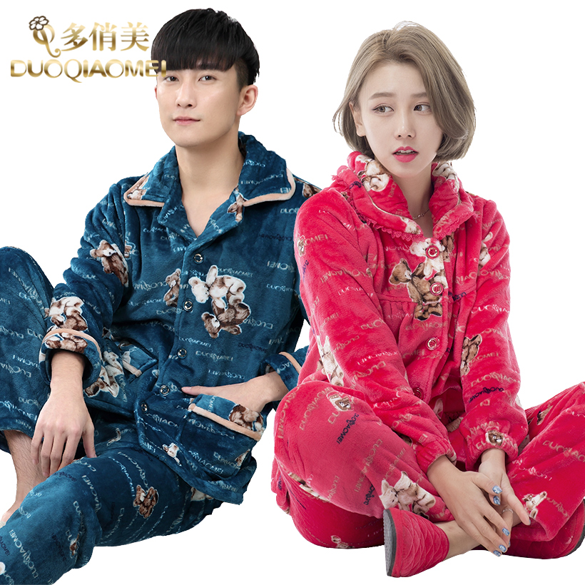 Autumn and winter thick coral velvet pajamas suits couples men women korean version of the cartoon version of flannel tracksuit habitat