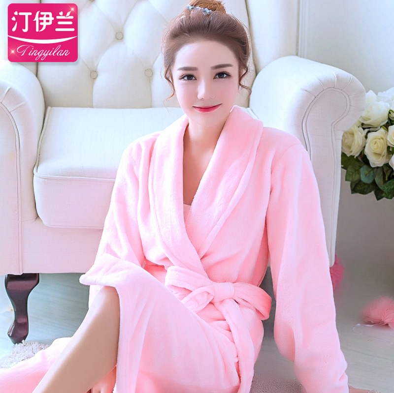 Autumn and winter thick flannel long sleeve pajamas nightgown women tracksuit coral velvet bathrobe bath suit female cute pink