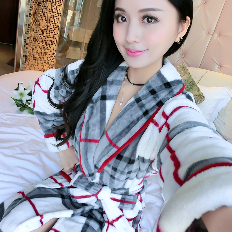 03bf316cfe Get Quotations · Autumn and winter thick flannel nightgown casual woman bathrobe  bathrobe coral velvet pajamas women tracksuit long