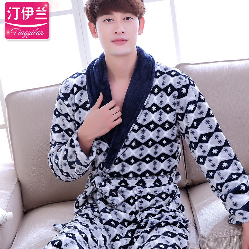 Autumn and winter thick flannel nightgown pajamas men tracksuit long sleeve pajamas coral velvet bathrobe bath robe male snowflake striped