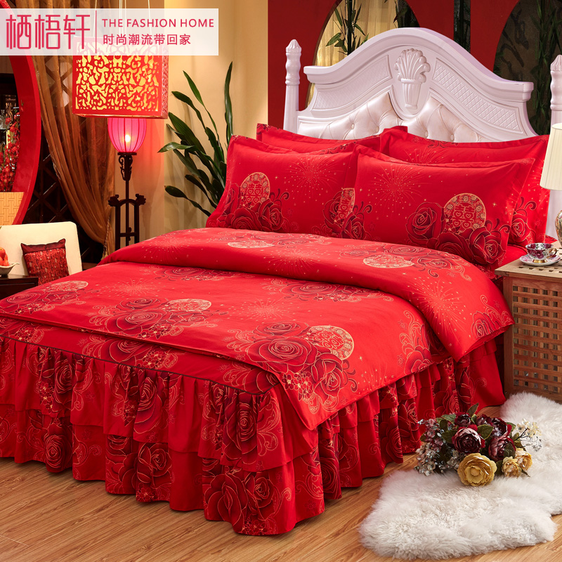 æ æ¢§è½©autumn and winter wedding bedding thick brushed denim wedding red double quilt bedspread bed skirt