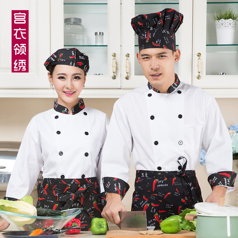 Autumn and winter white chef service hotel chef clothing chef uniforms cake bakers clothing store surface package store baking clothing