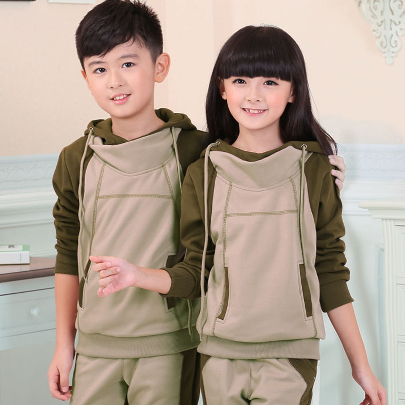 Autumn beaver hedging hooded casual clothing boy suit small girls big virgin spring spring and autumn and winter spell color family fitted tide
