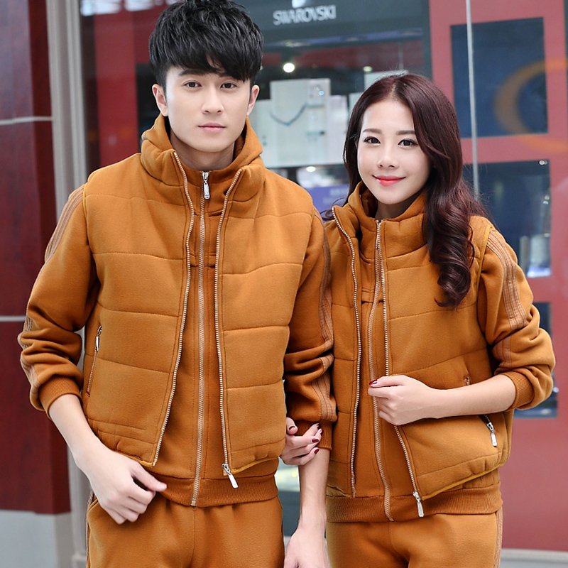 Autumn beaver new korean version of the code size for men and women sports suit lovers cardigan spring and autumn and winter sportswear three sets