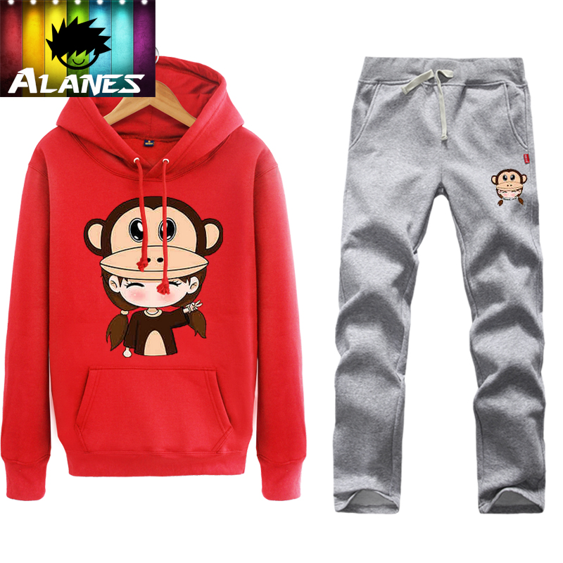 Autumn big mouth cute monkey red hedging sweater coat male sports lovers wei pants long pants for men and women set
