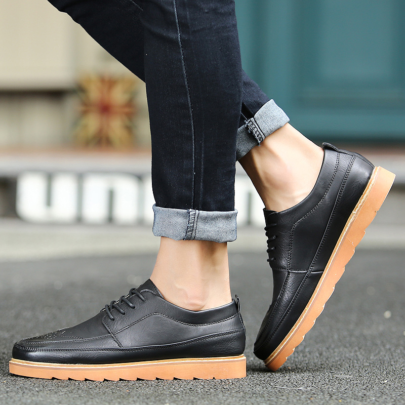 Autumn casual shoes carved male korean young male tide shoes thick crust muffin casual shoes tide male bullock shoes