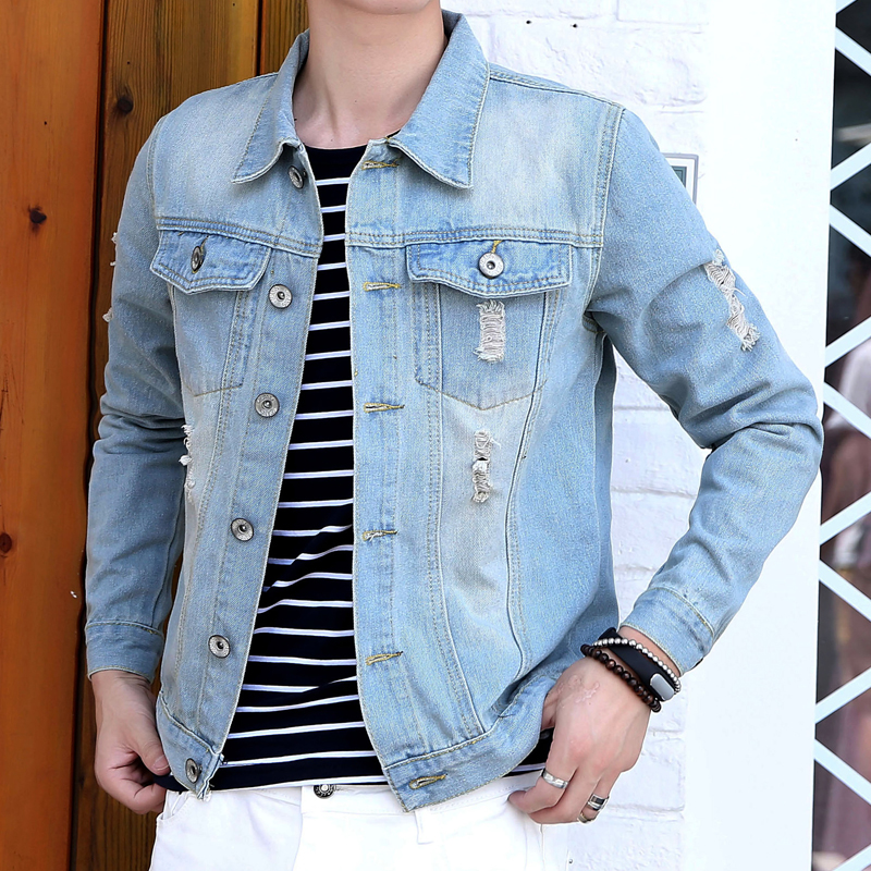 Autumn denim jacket denim clothing denim jacket male tide korean students colored folders gram jacket men thin coat jacket