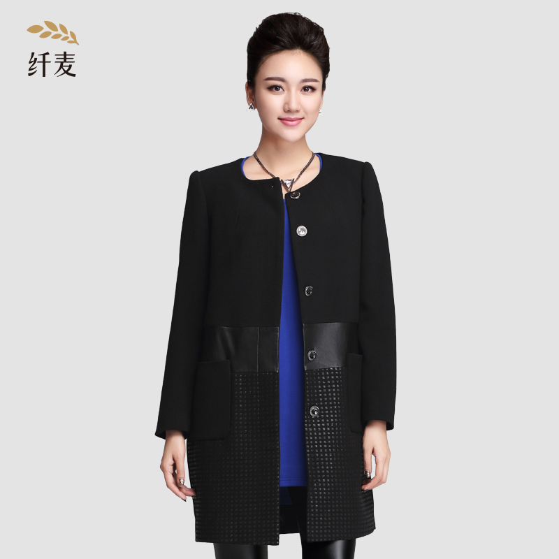 Autumn jacket/long sleeve autumn new coat and long sections mecca collar large size women solid color loose round