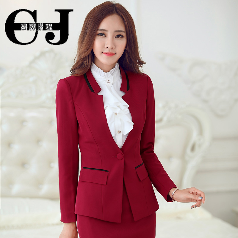 Autumn korean version of ol ladies wear white collar ladies dress suit overalls labor suit long sleeve dress suit autumn